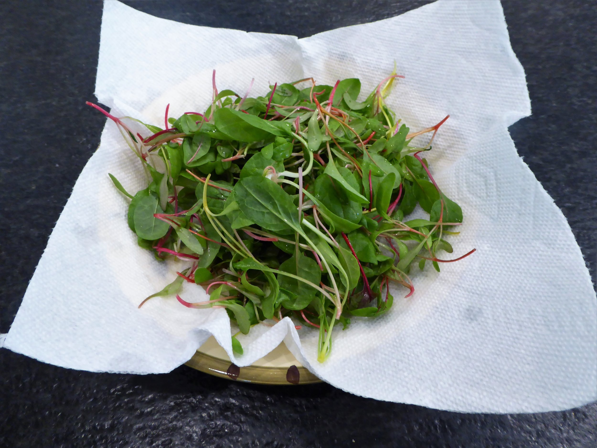 Air dry washed microgreens and dry them in a shallow bowl lined with a paper towel.