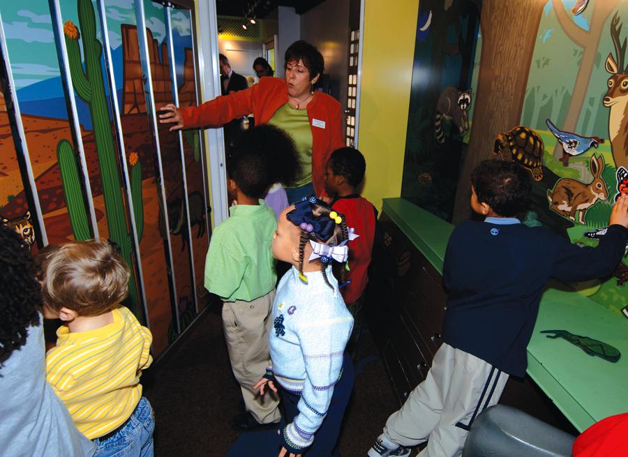 Almost every wall and surface of the mobile unit is utilized as a learning and interactive opportunity, i.e. a slatted wall can easily be turned into 3 different biomes.
