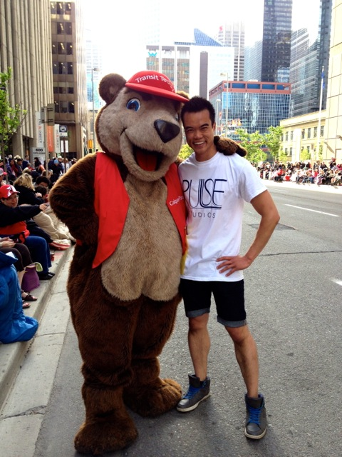 While dancing at the Calgary Stampede parade, I met a friend - the Calgary Transit bear!