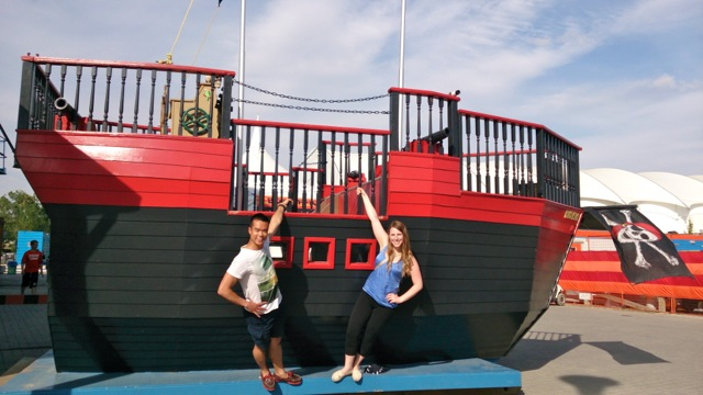 "Hanging out on a pirate ship with Madeline at Calgary Opera's summer production of ""Pirates of Penzance""."