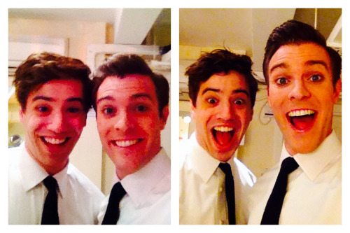 "The show's stars Billy Harringan Tighe (left in the far left photo) and A.J. Holmes (right in the far left photo), in their first and last performances together in ""The Book of Mormon"". Photo credit: theoriginoffandom.tumblr.com"