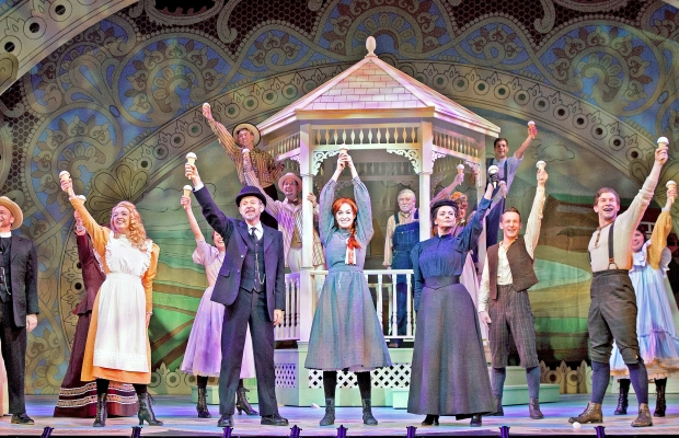 """The cast of Theatre Calgary's """"Anne of Green Gables"""" in the closing number of the first act. Photo by Trudie Lee."""