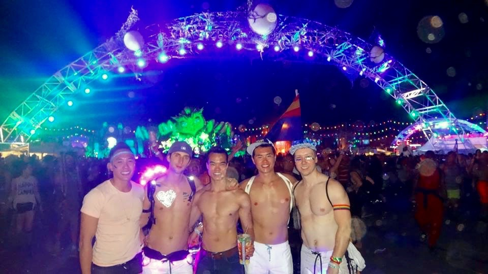 My friends and I enjoying the festivities at EDC!