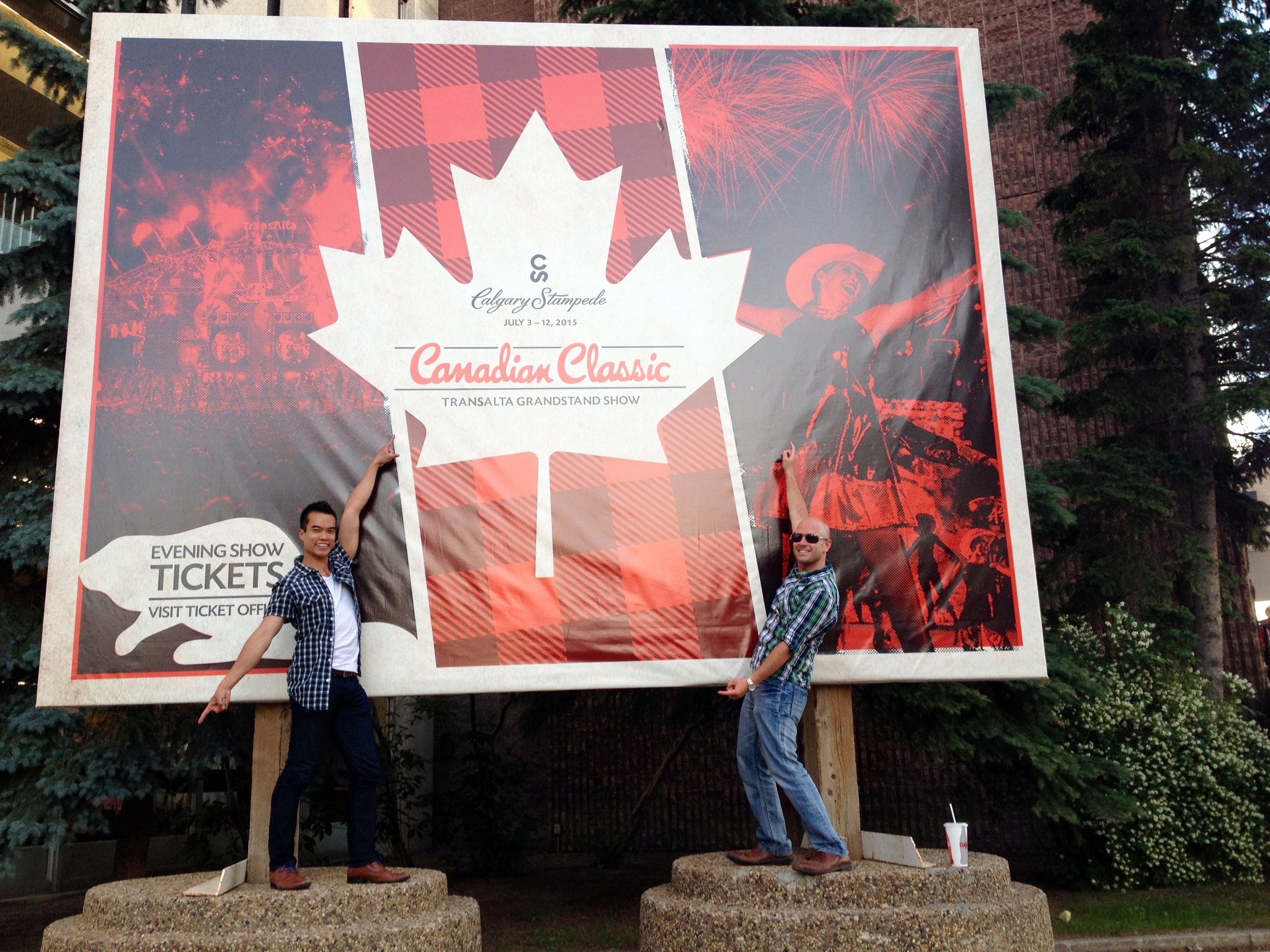 """Me and my pal Julien strike a pose outside the 2015 TransAlta Evening Grandstand show, """"Canadian Classic""""."""