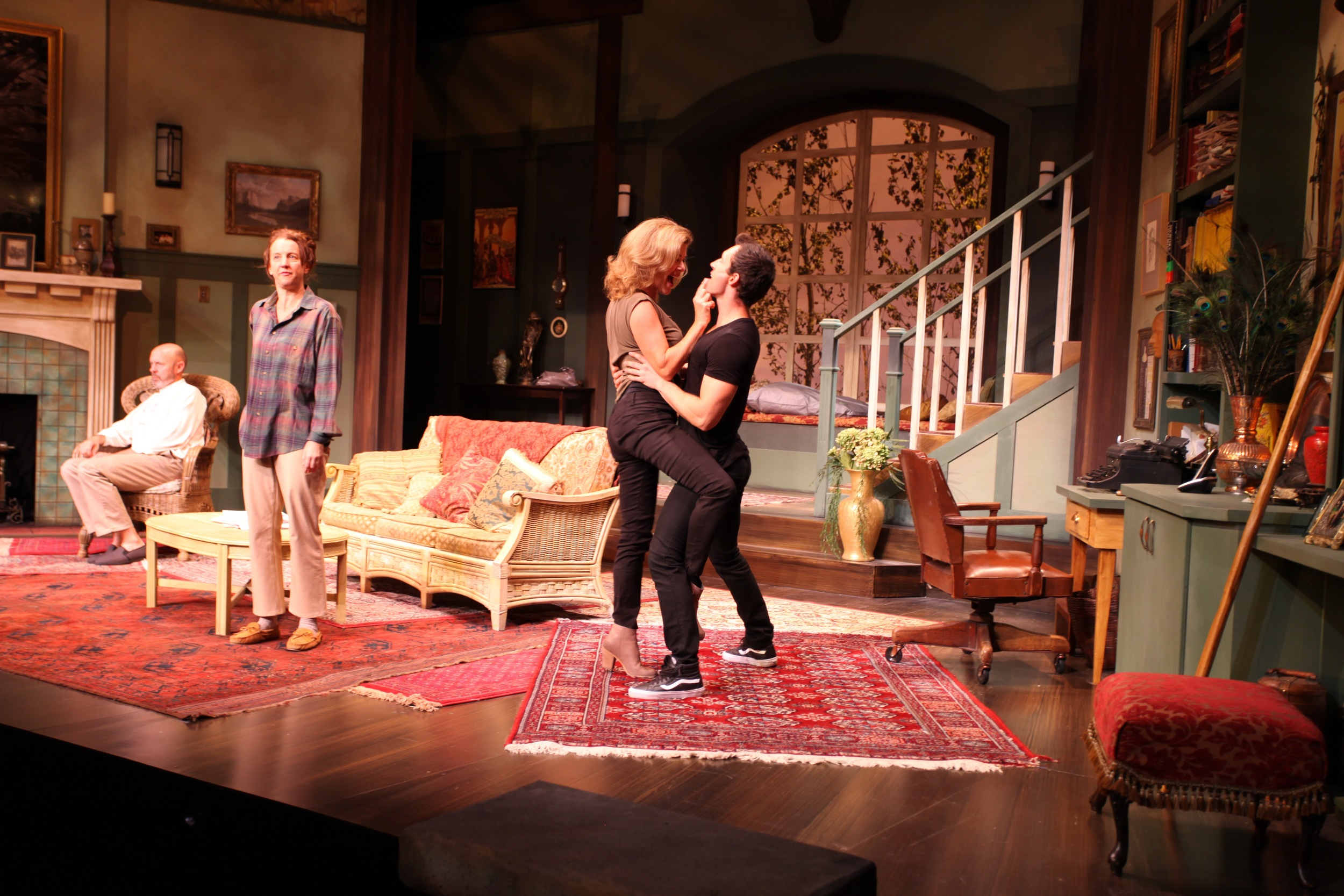 From left to right: Christopher Hunt (Vanya), Lois Anderson (Sonia), Sonja Smits (Masha) and Spike (Stafford Perry). Photo credit: Alberta Theatre Projects