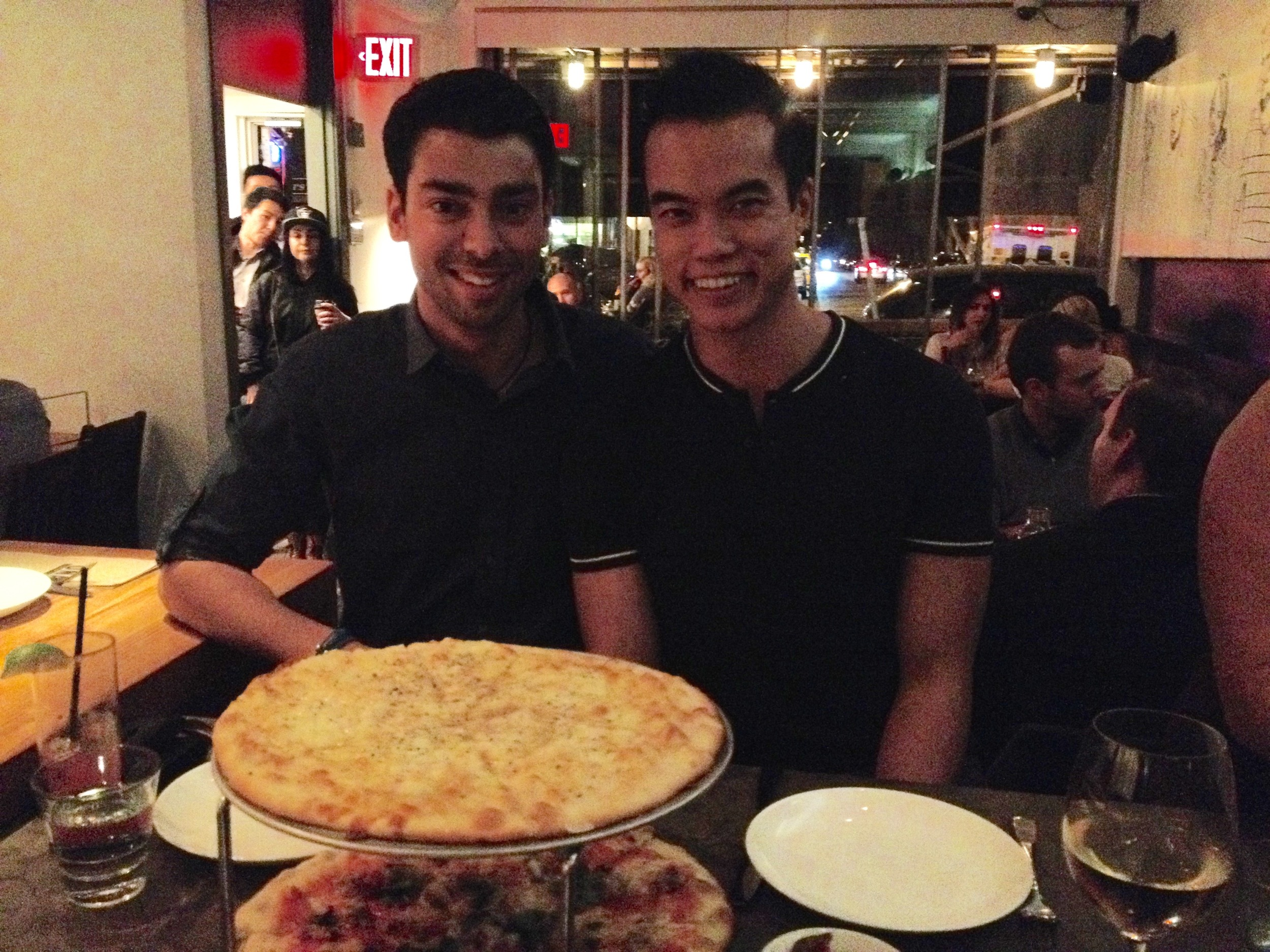 My friend (left) and I enjoying the 2015 YYC Pizza Week at UNA Pizza & Wine.