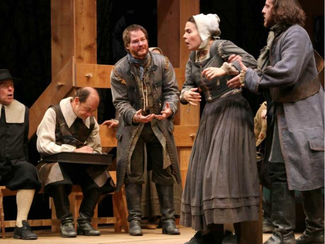 Sine (centre) and Vanessa Sabourin (second from right), are extremely moving as a farm couple torn apart by salem's witch trials. Photo courtesy of Trudie Lee.