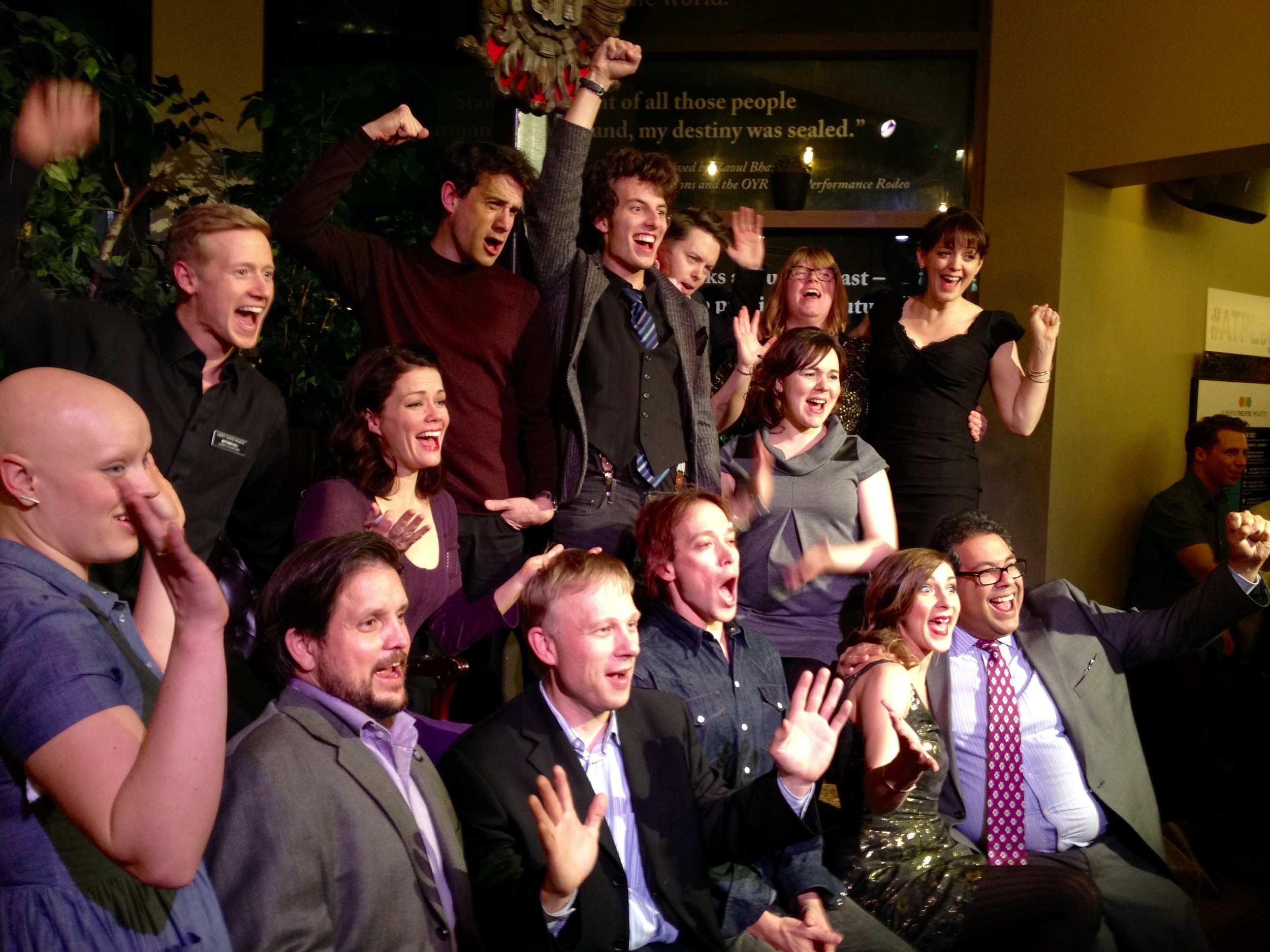 The cast and creative team of  Legend Has It  celebrates during opening night. can you spot their special guest, Mayor Nenshi? Hint: He's in the front row on the far right!
