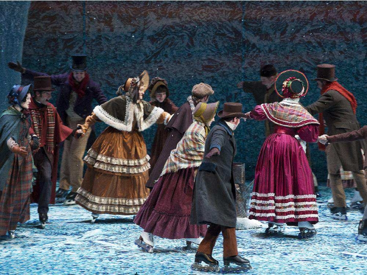 The cast of A Christmas Carol gather together to ice skate in the show's heartwarming ending. Photo courtesy of Jose Soriano.