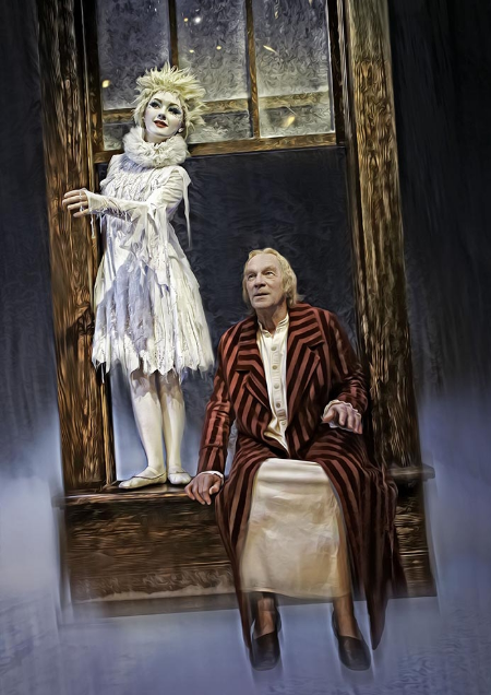 The Spirit of Christmas Past (Allison Lynch) takes Scrooge on a journey back to his youth. Photo courtesy of Trudie Lee.