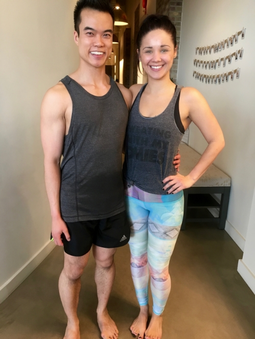 Myself and one of Hot Yoga on Crowfoot's barre instructors,Hayley Zokol.