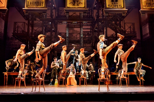The cast of NEWSIES kick up a storm with Christopher Gattelli's Tony Award-winning choreography. Photo credit: Deen van Meer