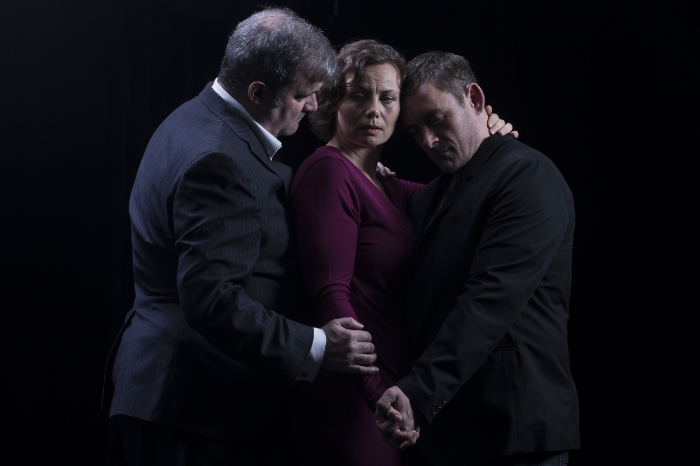 The cast of Ensemble Theatre Company's 'Betrayal'. Left to right: James Gill, Corina Akeson and Tariq Leslie. Photo credit: Thorsten Gohl.