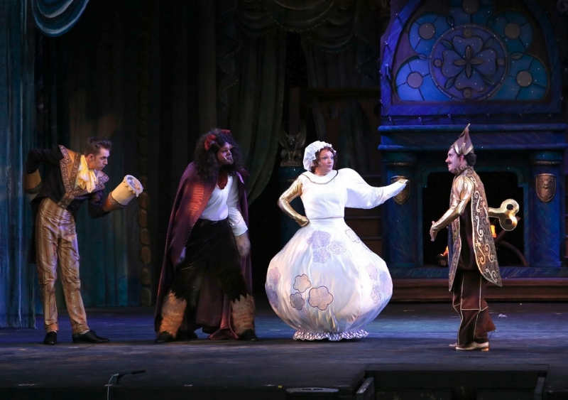 From left to right: Victor Hunter (Lumiere), Peter Monaghan (Beast), Sheryl Anne Wheaton (Mrs. Potts) and Steven Greenfield (Cogsworth). Photo credit: Tim Matheson.