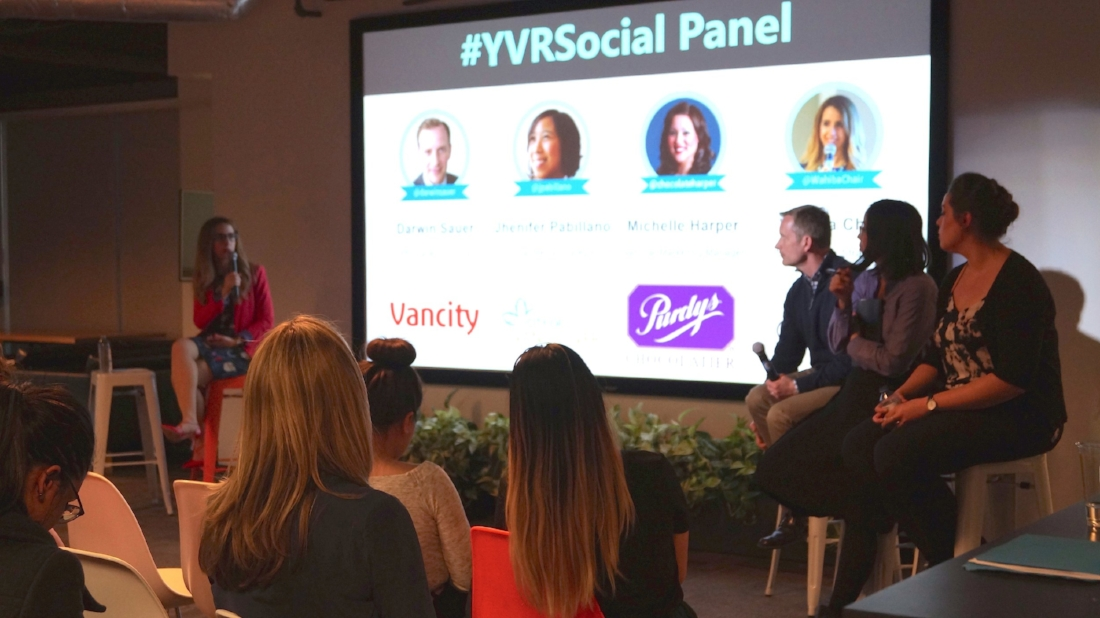 #YVRSocial host Wahiba Chair (far left), with panelists (from left to right) Darwin Sauer, Jhenifer Pabillano and Michelle Harper. Photo credit:Rummana Zahid