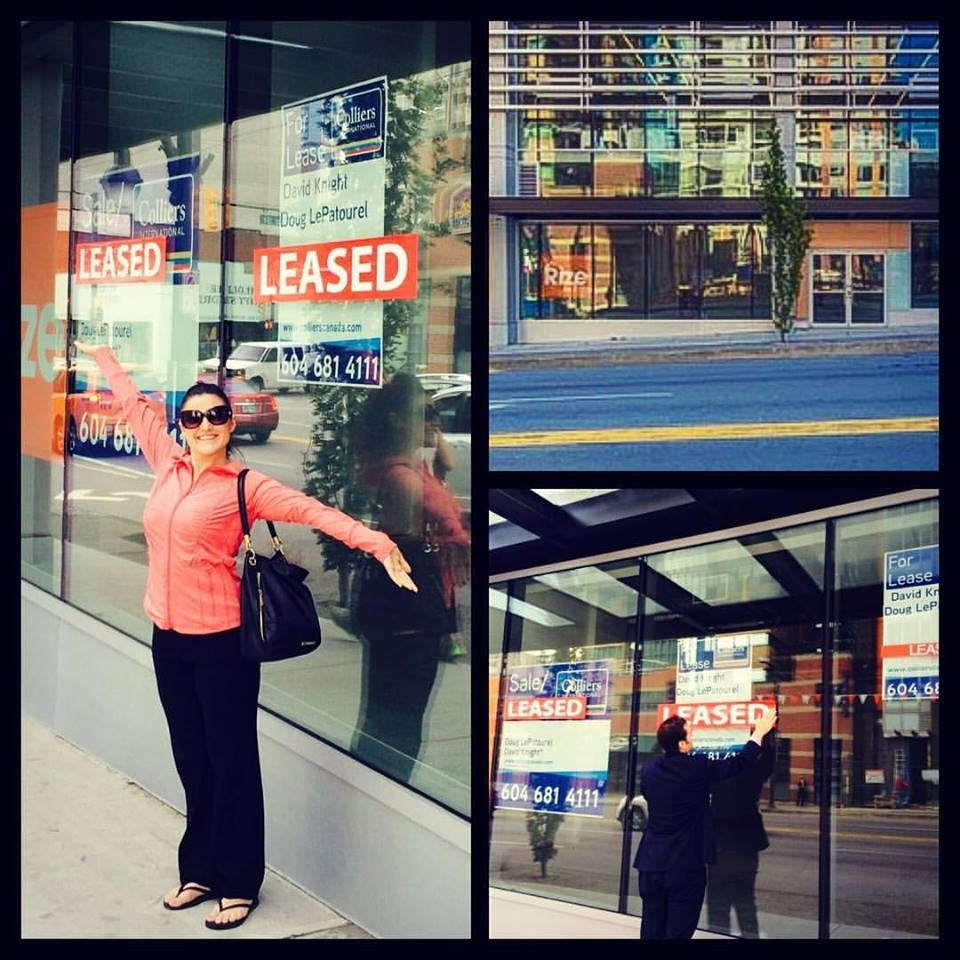 Suzy poses outside the future site of Ballet Lounge after securing the lease.