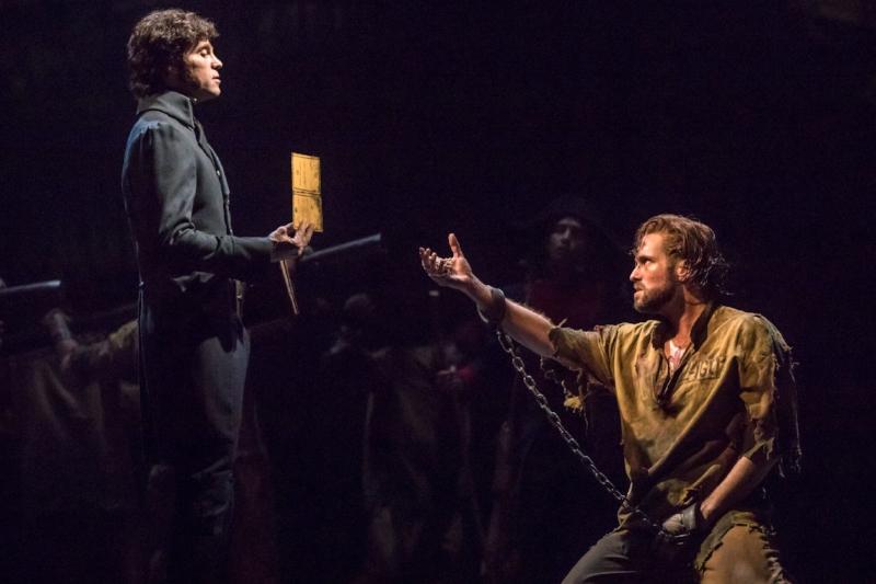 Josh Davis as 'Inspector Javert' and Nick Cartell as 'Jean Valjean'. Photo credit: Matthew Murphy