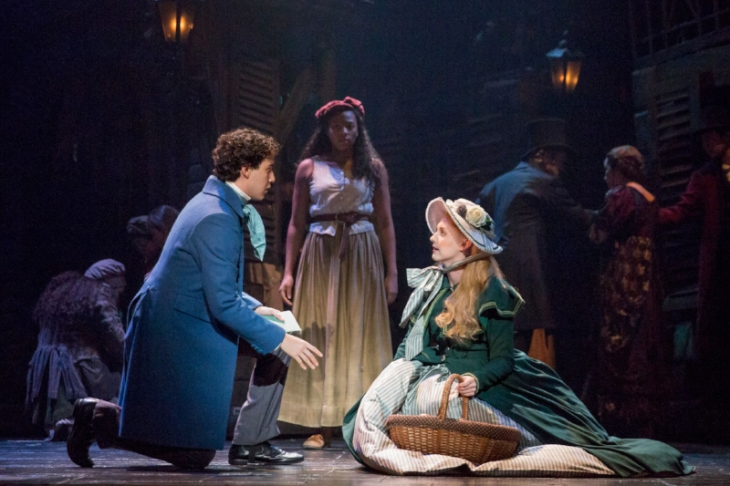 """From left to right: Joshua Grosso as 'Marius"""", uncredited actress as the previous 'Eponine' and Jillian Butler as 'Cosette"""". Photo credit: Matthew Murphy"""