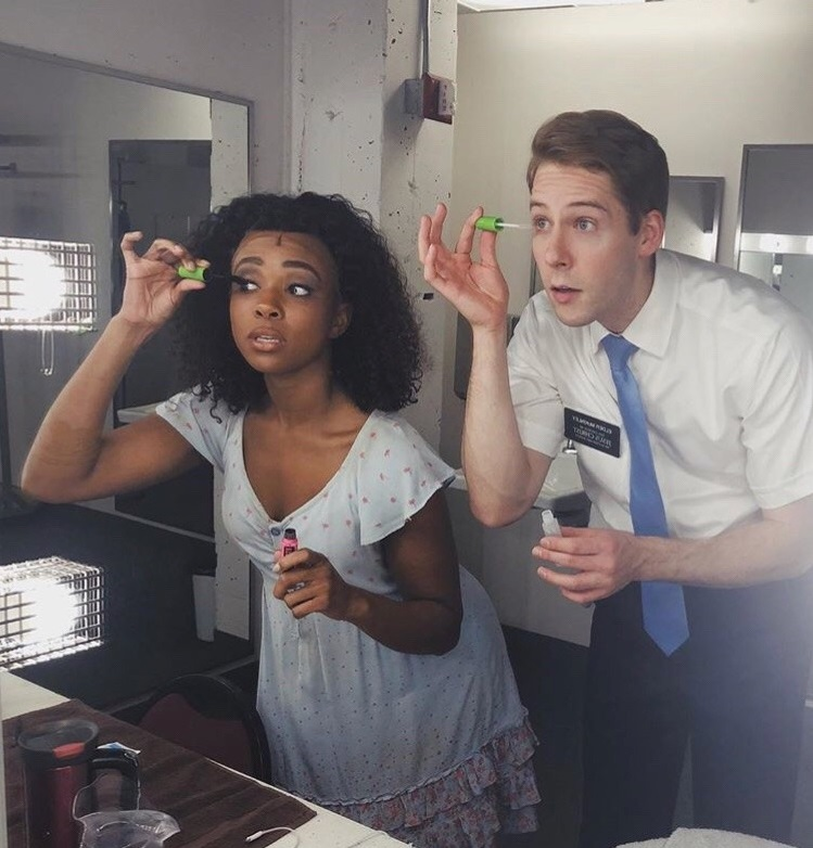 Kayla Pecchioni and Andy Huntington Jones prepare for a performance of  The Book of Mormon . Photo credit: orlando-reprise Tumblr.