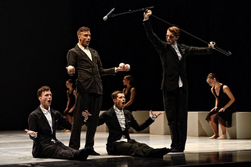 Peter Smida and male dancers in Petite Cérémonie. Photo credit: Michael Slobodian