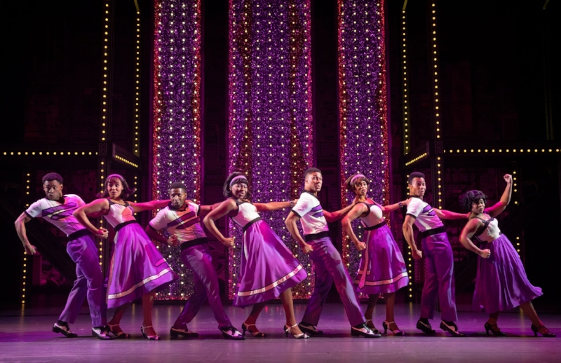 "The ensemble performing ""The Locomotion"". Photo credit: Joan Marcus"