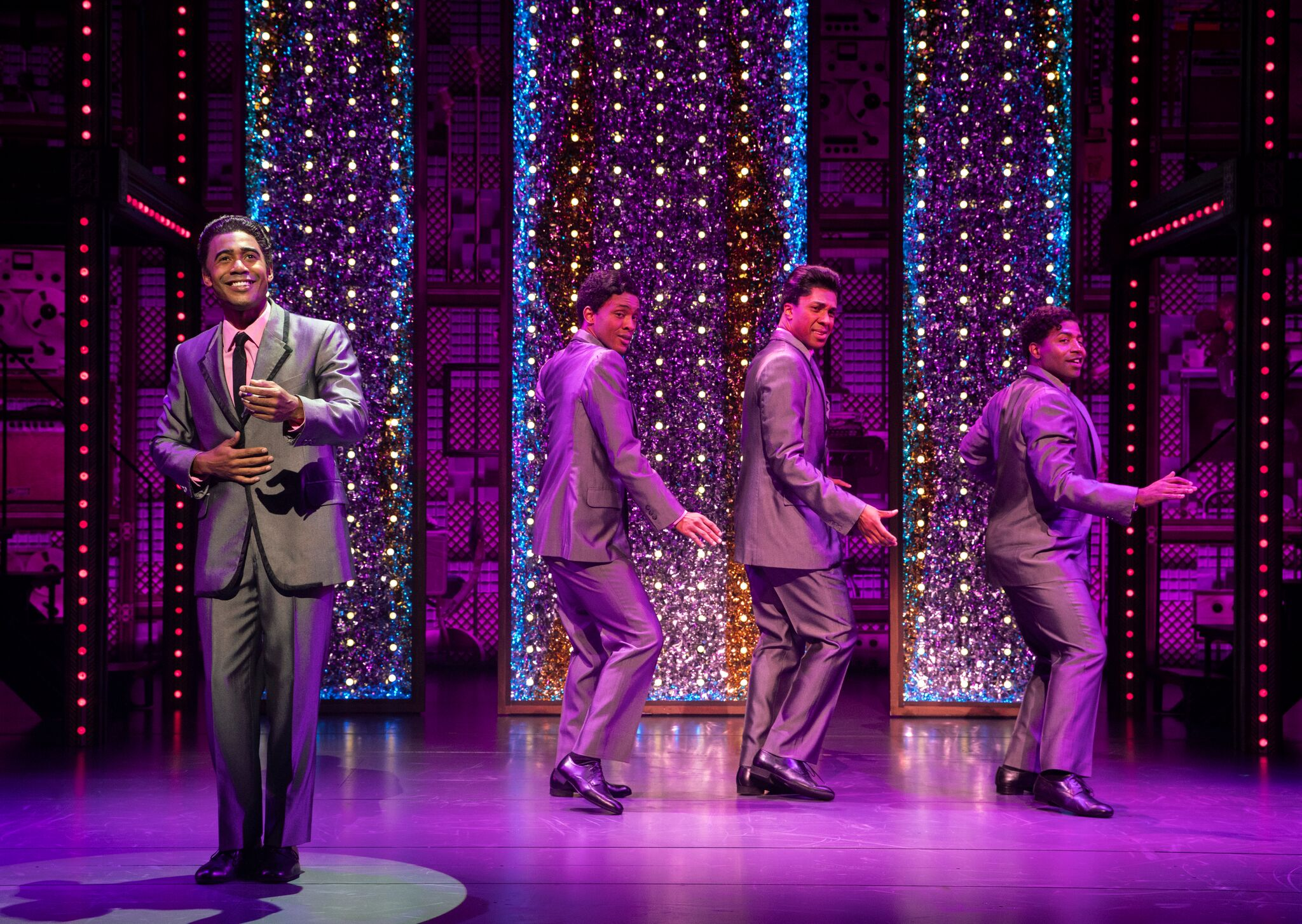 """The Drifters"" played by (from left to right) Dimitri Joseph Moïse, Deon Releford-Lee, Nathan Andrew Riley and Michael Stiggers (no longer with the show). Photo credit: Joan Marcus"
