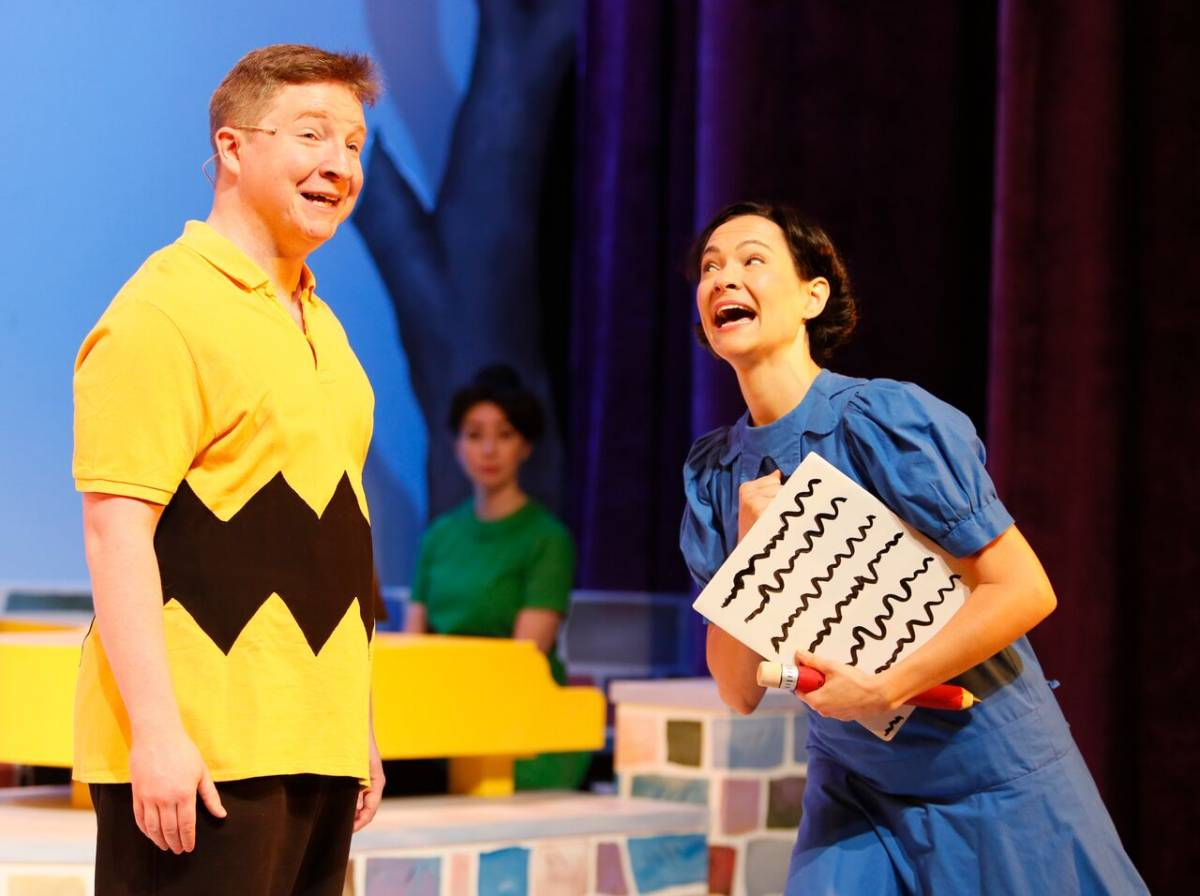 Andrew Cownden (Charlie Brown), Arielle Ballance (Violet), and Emilie Leclerc (Lucy). Photo credit: Tim Matheson