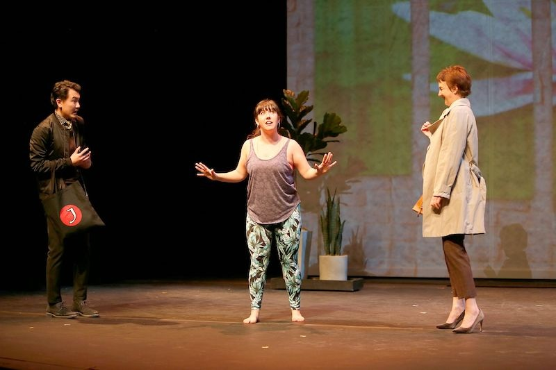 From left to right: Derek Chan, Christine Quintana, and Lois Anderson in Yoga Play. Photo credit: Tim Matheson