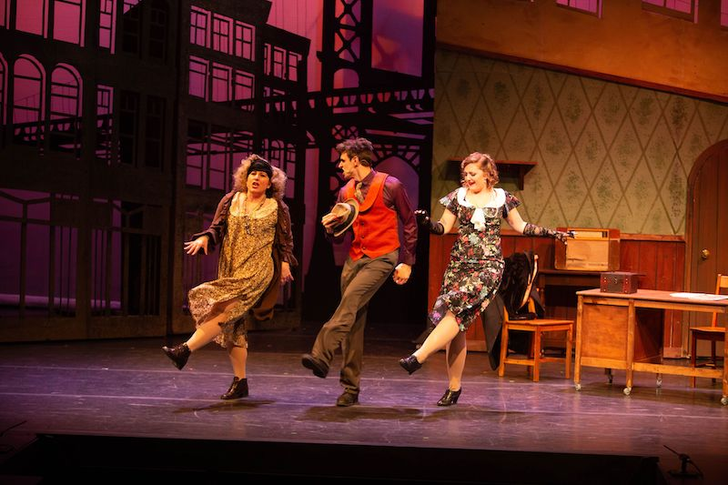 From left to right: Erin Matchette as Miss Hannigan, Daniel Curelli as Rooster Hannigan, and Leah Newson as Lily St. Regis. Photo credit: Anita Alberto