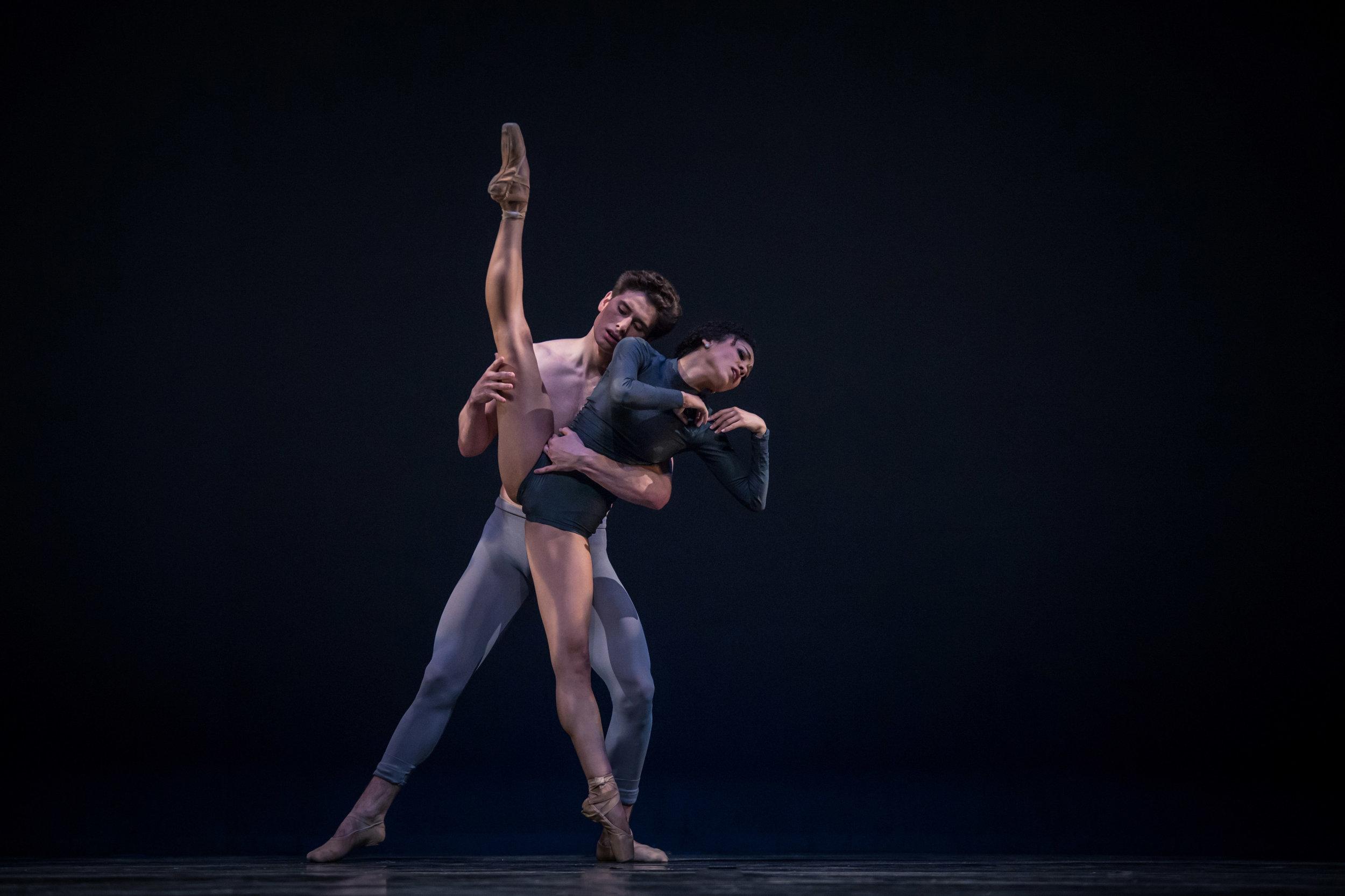 """Sterling Baca and Nayara Lopes in Pennsylvania Ballet's """"Surface Properties"""". Photo credit: Carlos Quezada"""