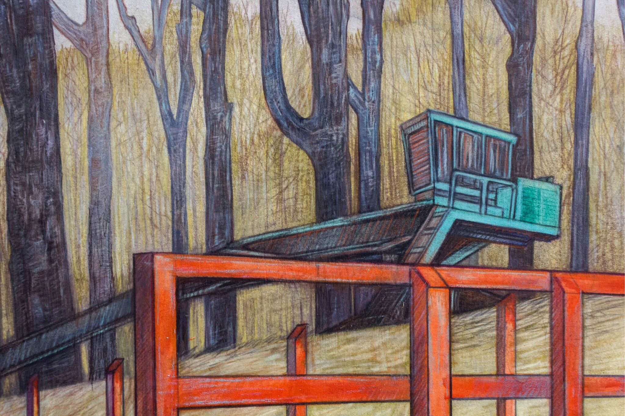 "Carly Drew, ""Dark Corner Daydream"" (Detail)   Watercolor, graphite, acrylic & wax pencil. 22 x 30in. 2018.    SOLD."