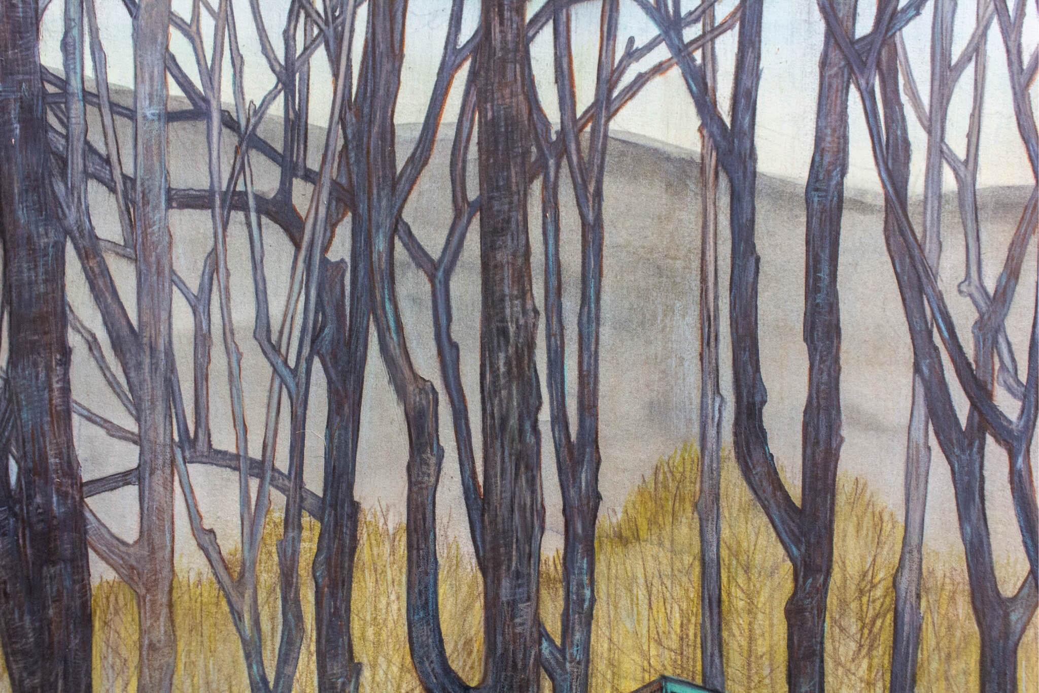 "Carly Drew, ""Dark Corner Daydream"" (Detail).  Watercolor, graphite, acrylic & wax pencil. 22 x 30in. 2018.    SOLD."