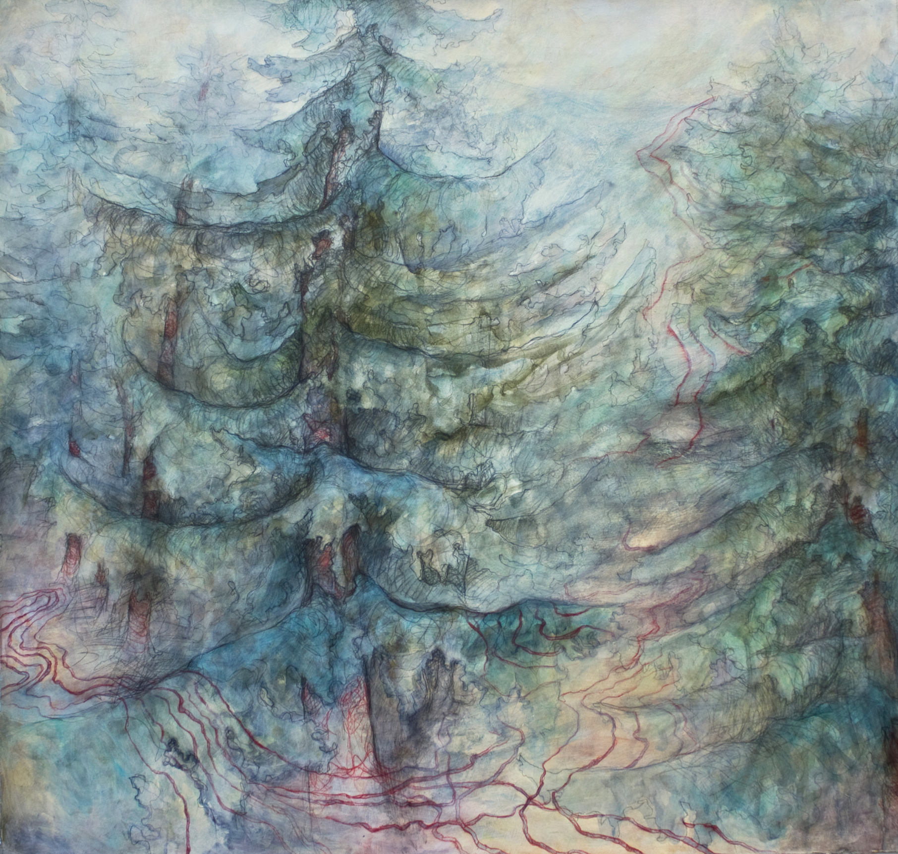 """Carly Drew, """"Christmas Tree Farm Diptych"""" (Left Panel).  Paper, watercolor, graphite, acrylic. 2012.  32 x 32in.   SOLD."""