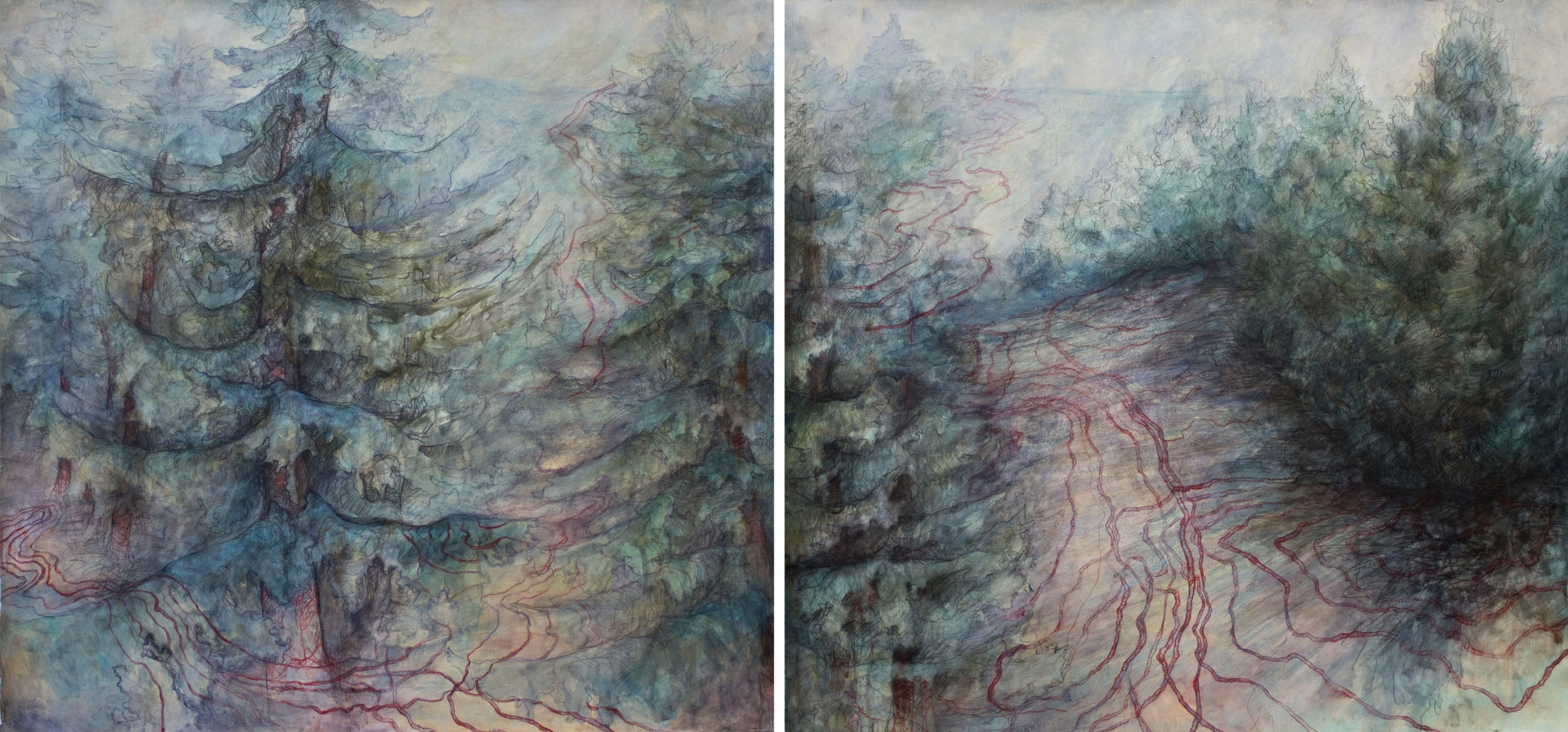 """Carly Drew, """"Christmas Tree Farm Diptych,""""  Paper, watercolor, graphite, acrylic. 2012.  32 x 32in.   SOLD."""