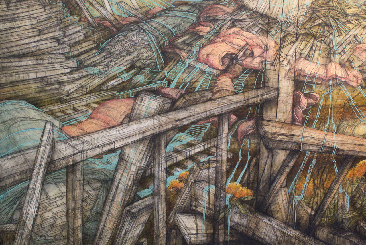 """Carly Drew, """"Will + Testament (Gallery Installation).  Paper, watercolor, graphite, charcoal, acrylic, pastel. 55 x 84in. 2013.    Available.      Inquire Here."""