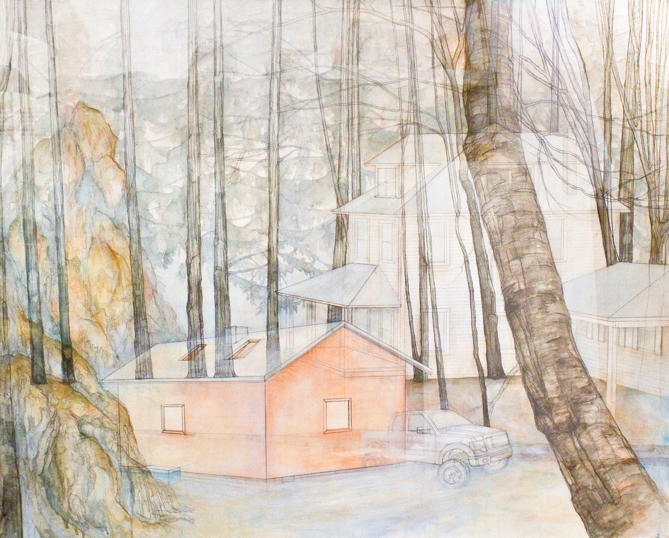 "Carly Drew, ""Contested Grounds""   Paper, watercolor, graphite, acrylic. 2013. 55 x 55in.    PRIVATE COLLECTION"