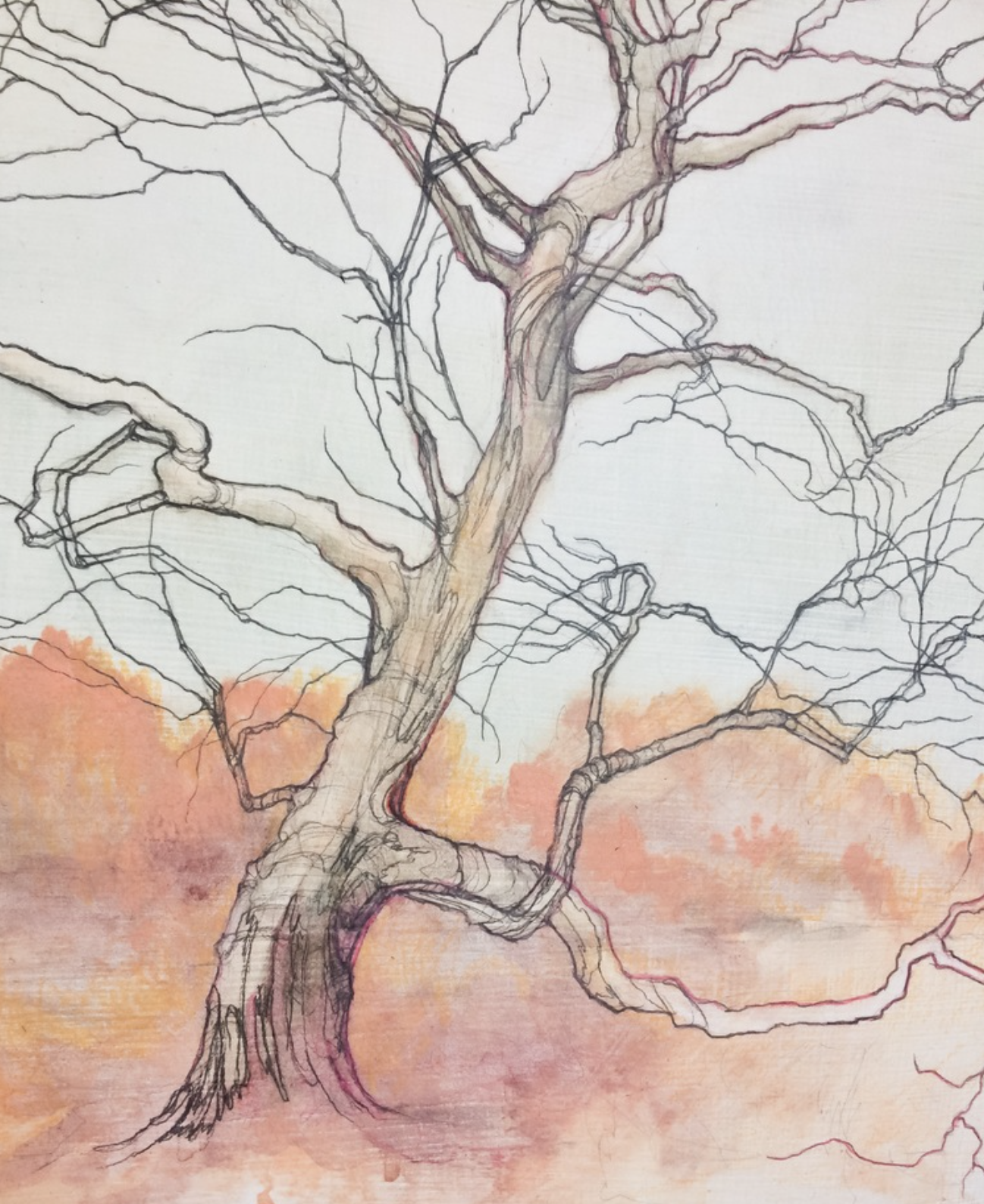 "Carly Drew, ""Tree Study""   Paper mounted on panel. Watercolor, graphite, acrylic. 8 x 10in. 2015.    PRIVATE COLLECTION"