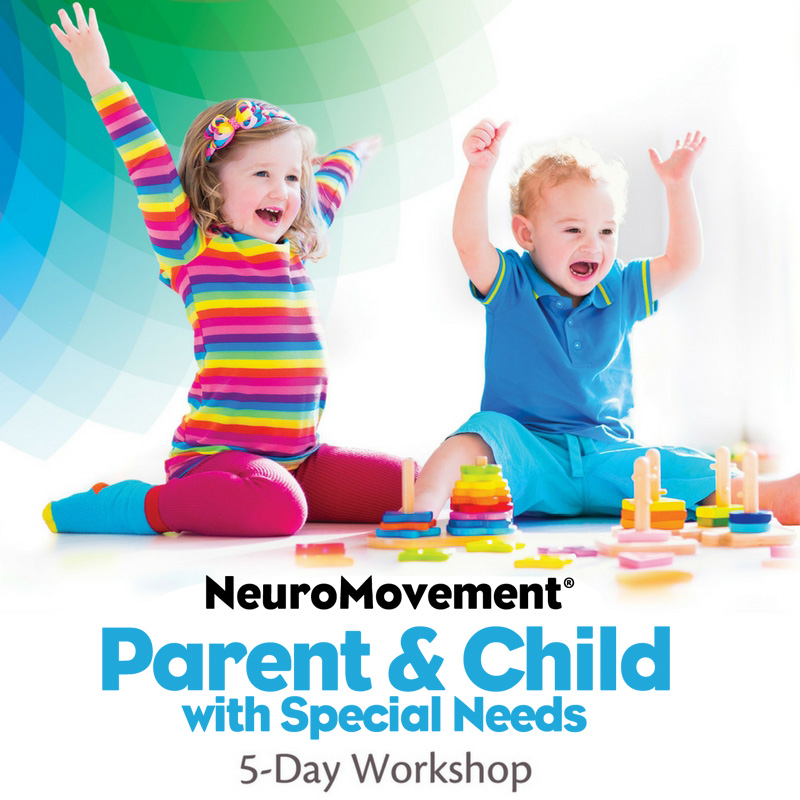 NeuroMovement®Parent & Child with special needs5-Day Workshop (DVD & Streaming) - This in-depth program is designed to help anyone who has a child with special needs in their life—a parent, a caregiver, a teacher, a therapist, a friend, or a relative—with a child facing the challenges of autism, cerebral palsy, ADD or ADHD, Down syndrome, or other undiagnosed developmental delays. The program consists of 5 full days with over 23 hours of video. You will learn the tools to wake up your child's brain for potent learning that leads to transformational changes—physical, cognitive, emotional, and social.