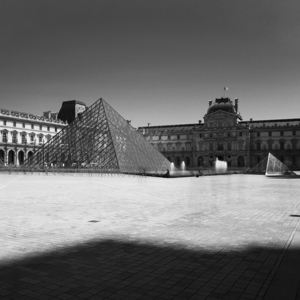 louvre pyramid and shadow