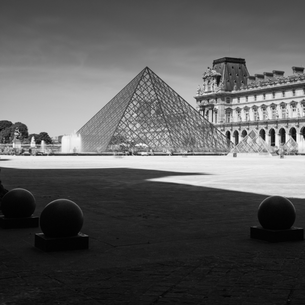 louvre pyramid and balls