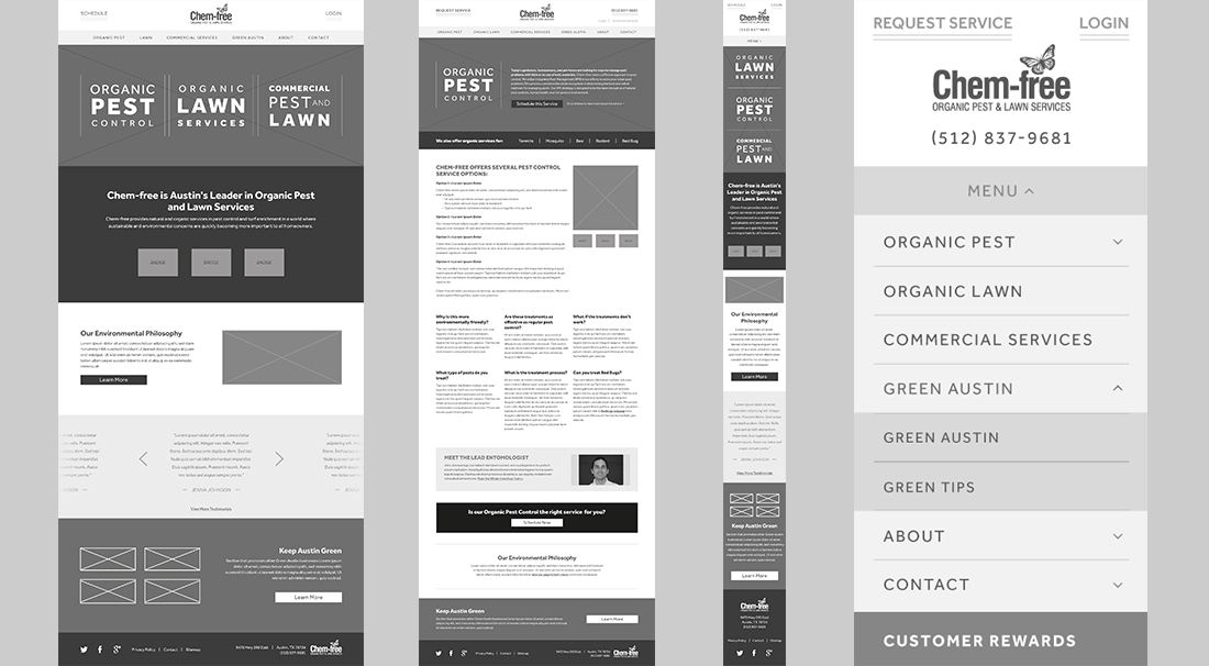 Desktop and mobile wireframes