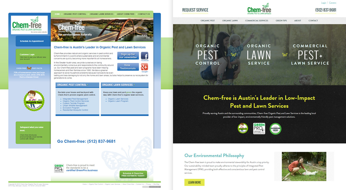 Homepage before and after