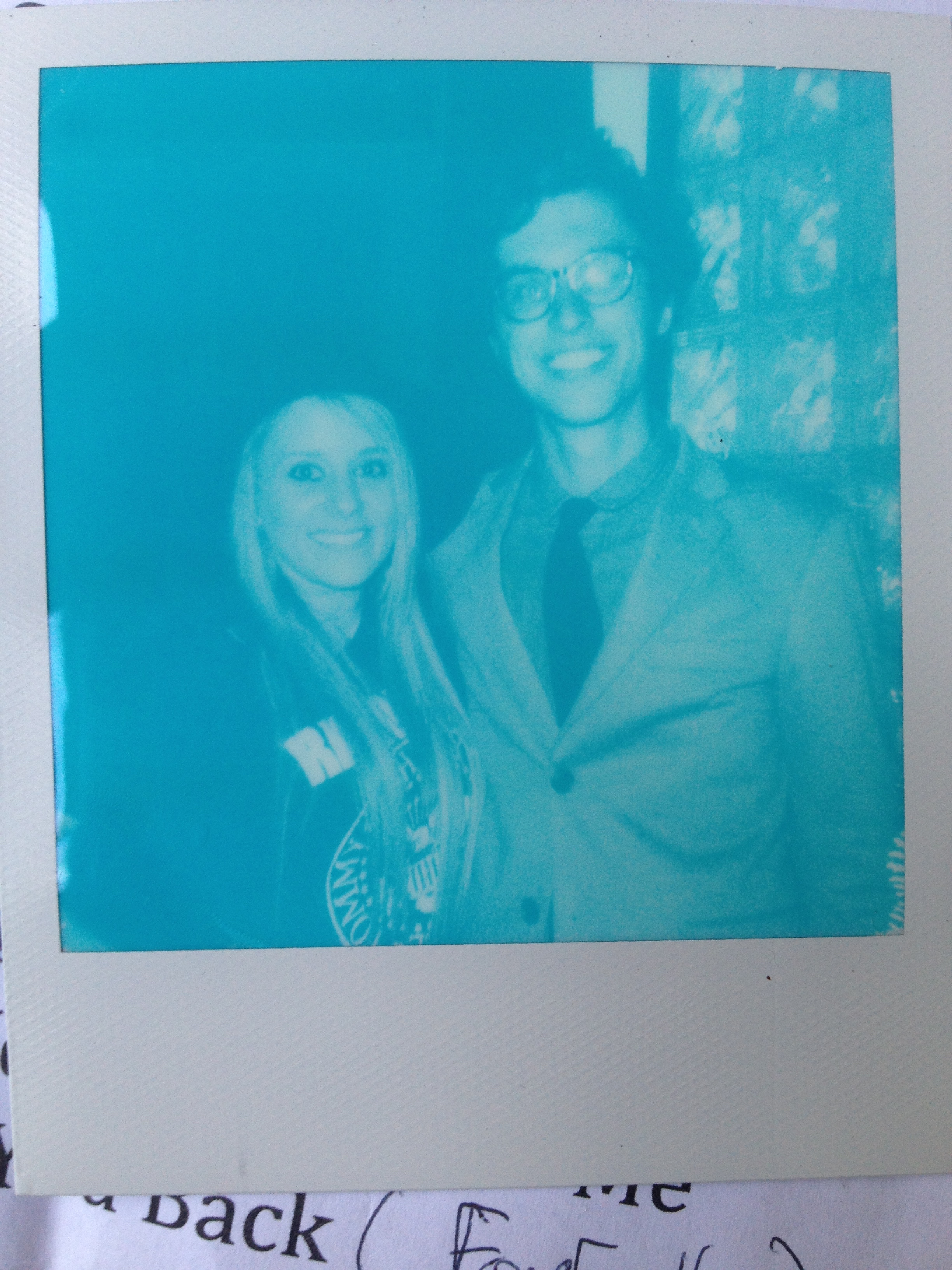 The author with Whiskey Autumn frontman   Greg Laut  . Blue polaroid courtesy Becky Guidera.