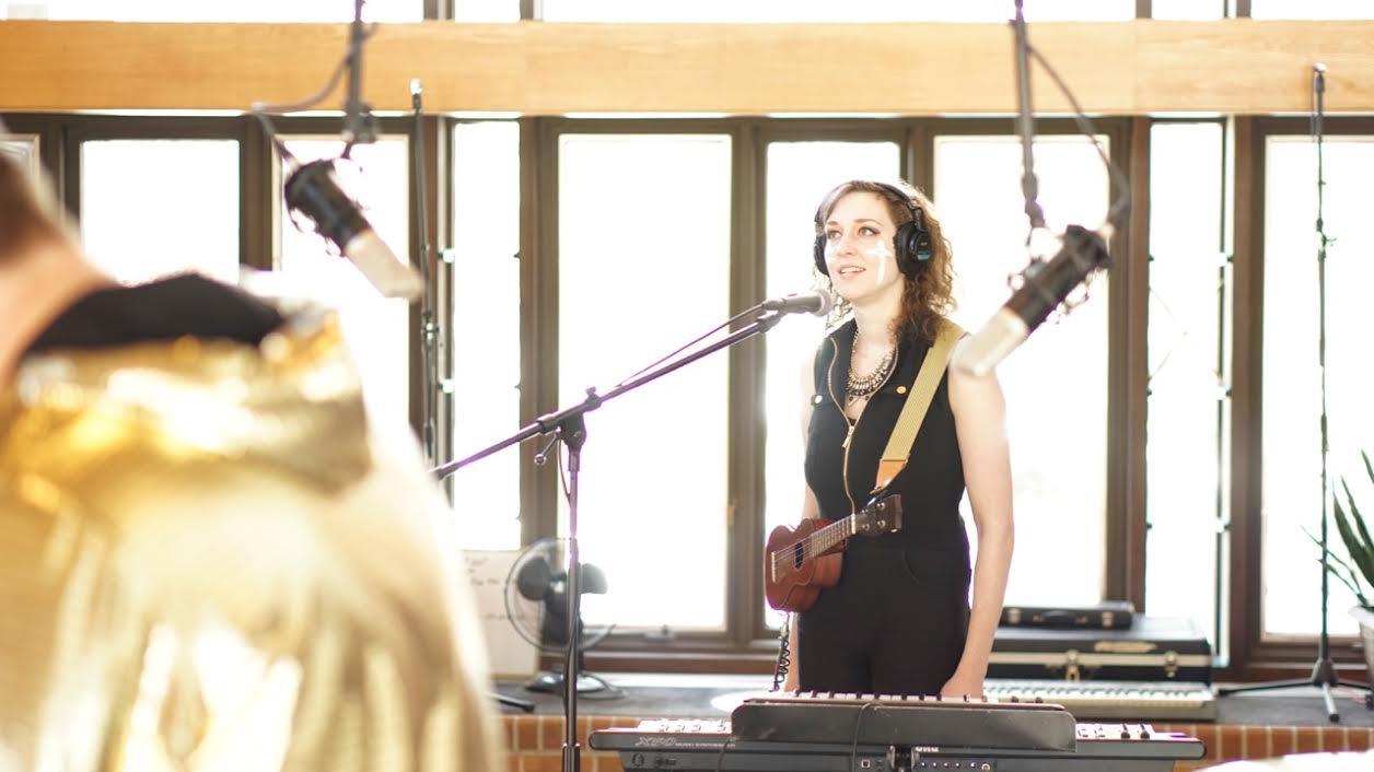 Cara in the studio.
