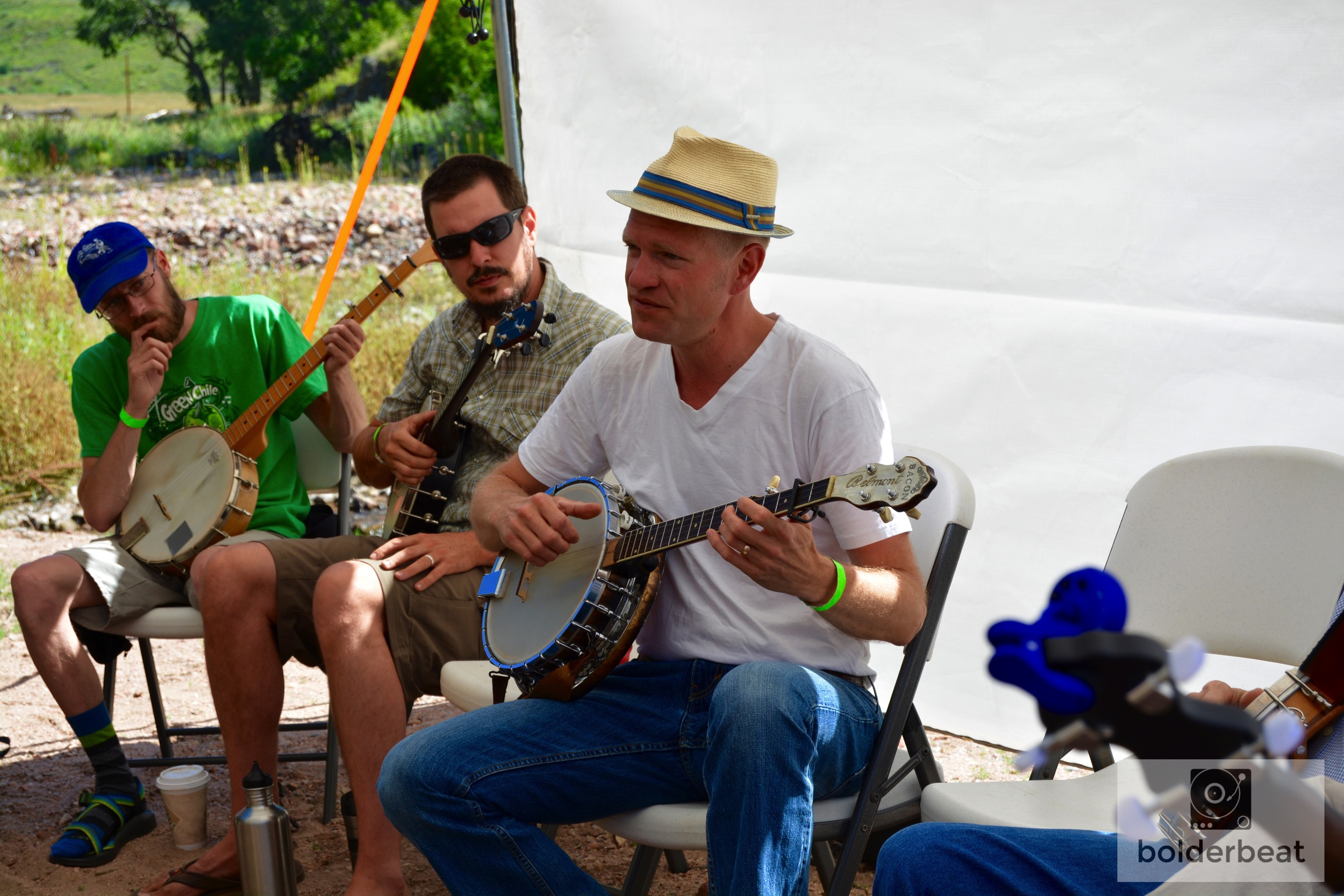 "Sammy Lind's clawhammer banjo workshop at ""The Gathering Place"" on the beach."