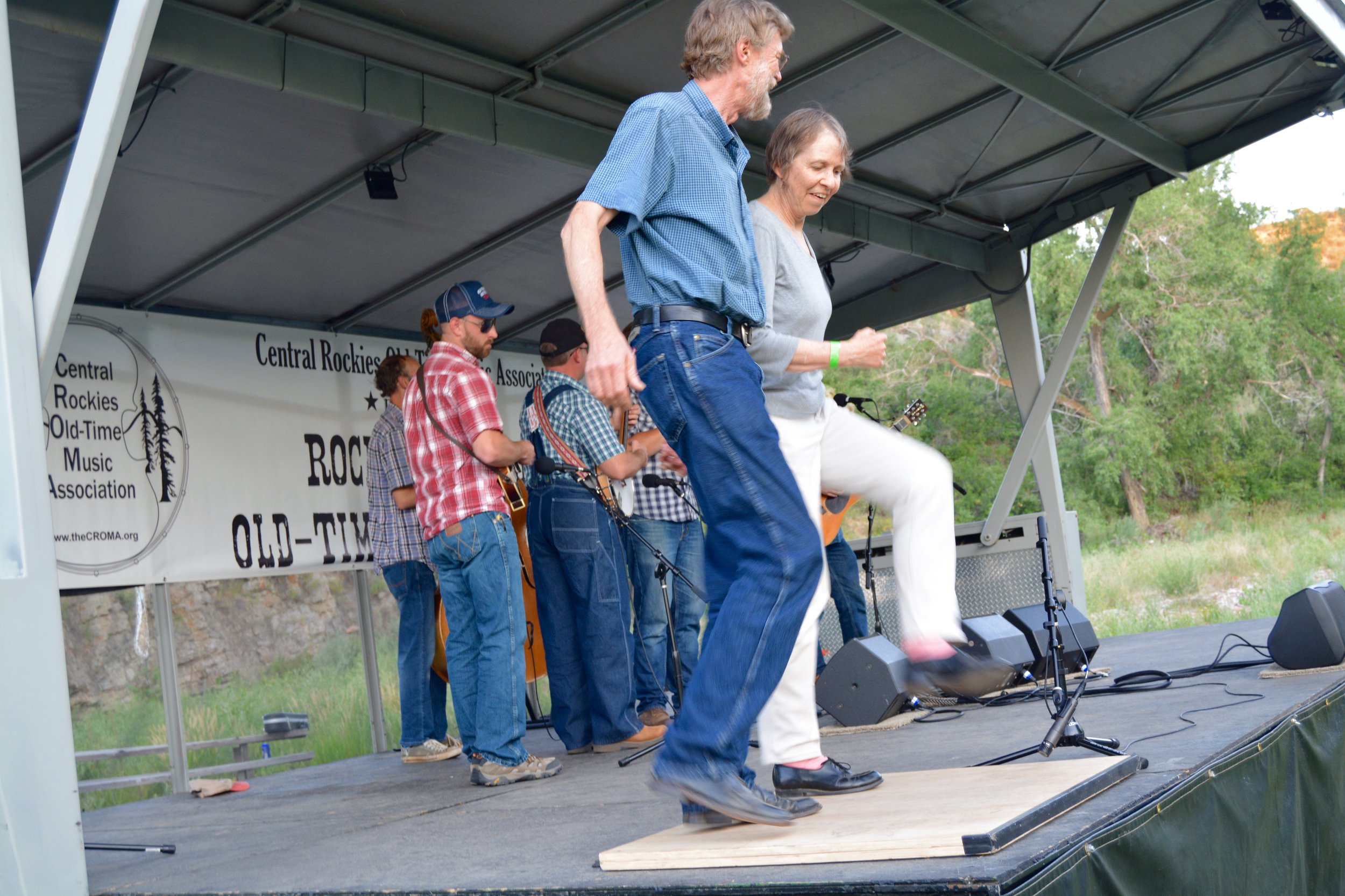 Callers and cloggers: Phil Jamison & Dot Kent join the New Smokey Valley Boys for a number.