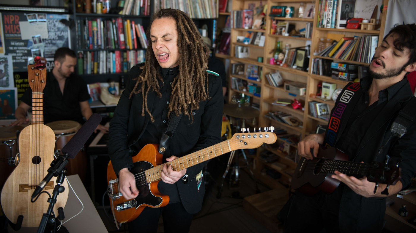"Making Movies at their NPR ""tiny desk"" performance. photo courtesy npr."