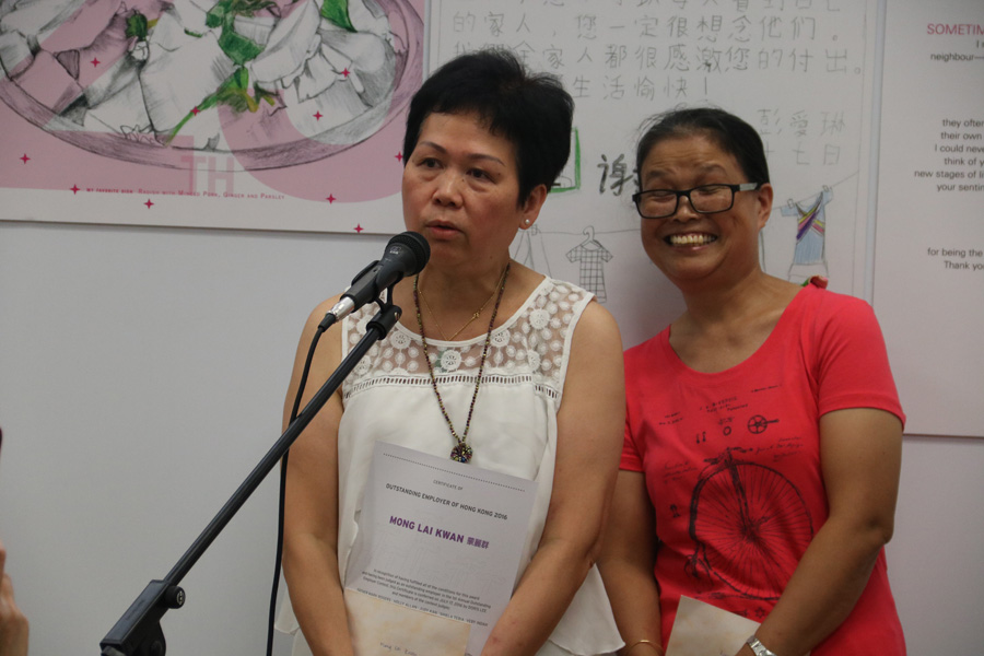 Outstanding Employer: Mong (left) and Migrant Domestic Worker: Riem (right)
