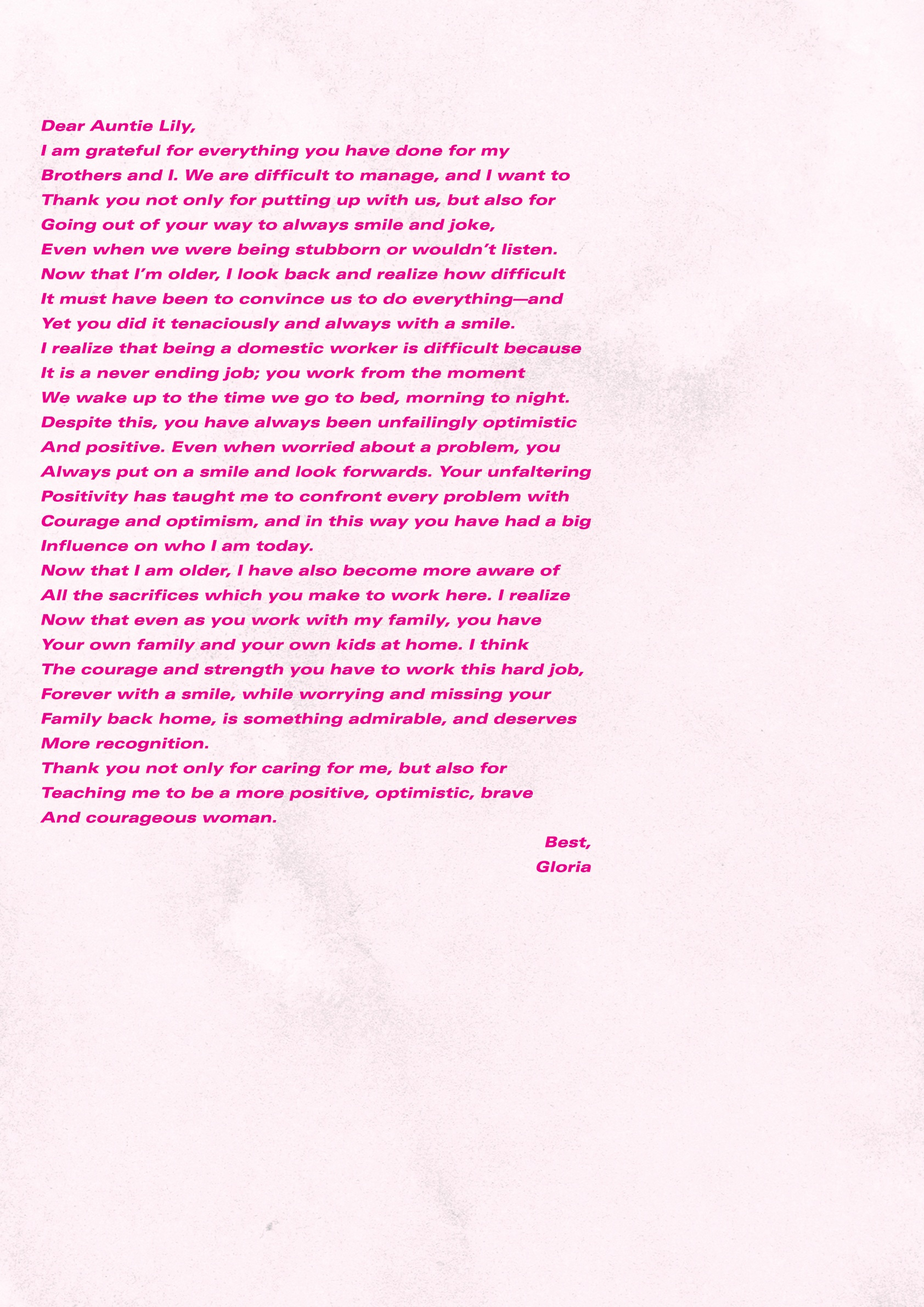 Letter by Gloria | Design: Rowena Chan