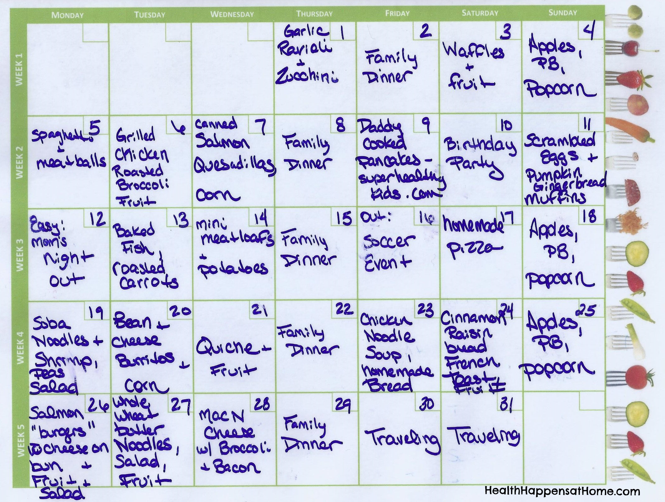 October's Meal Plan